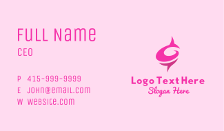 Pink Rose Letter C  Business Card