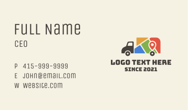 Location Map Truck Business Card