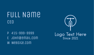 Blue Bicycle Cyclist Business Card