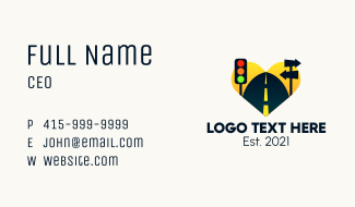 Multicolor Road Signs  Business Card