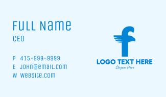 Blue Eagle Letter F Business Card