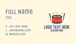 Colorful Toy Drums Business Card