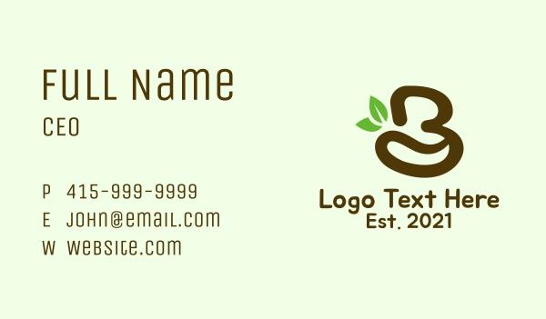 brewed - Organic Coffee Letter B Business card horizontal design
