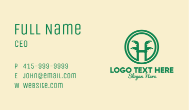 Tropical Letter H Business Card