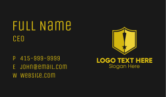 Shield Exclamation Star Business Card