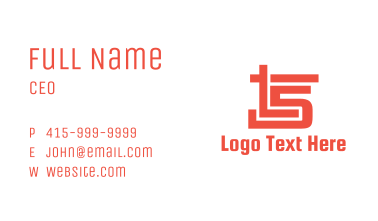 Red Number 5 Stroke Business Card