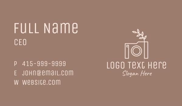 camera shop - Photographer Camera Monoline Leaf Business card horizontal design