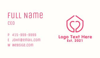 Pink Monoline Heart House Business Card