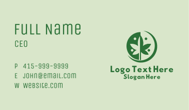 Green Cannabis Weed  Business Card