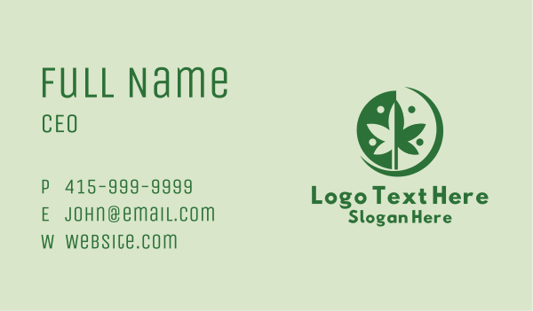 dispensary - Green Cannabis Weed  Business card horizontal design