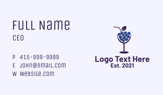 Blueberry Cocktail Drink  Business Card