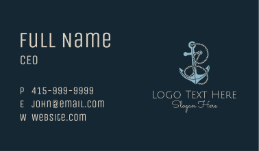 Anchor Rope Letter I Business Card