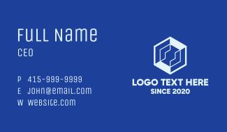 Tech Blue Hexagon Business Card