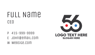 Modern Number 56  Business Card