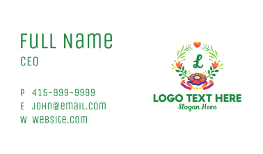 Colorful Flower Wreath Business Card