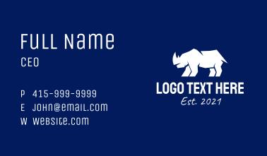 White Rhino Silhouette  Business Card