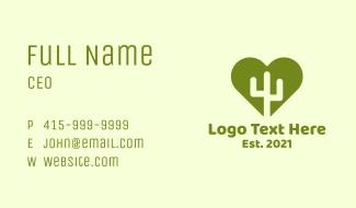 Nature Cactus Heart Business Card