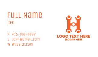 Orange Hardware Letter H Business Card