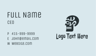 Black Skull Profile Business Card