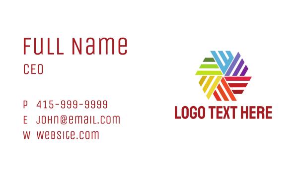 pinwheel - Colorful Hexagon Pinwheel  Business card horizontal design