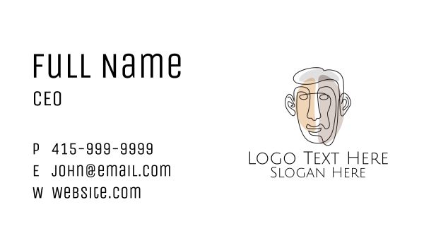 mens salon - Minimalist Male Outline Business card horizontal design