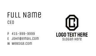 Black Octagon Letter B Business Card