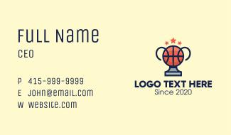 Basketball Tournament Trophy Business Card