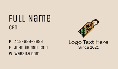 Coffee Plant Tag Business Card