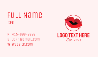 Red Drip Lips Business Card