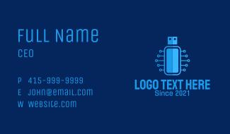 Blue USB Network  Business Card