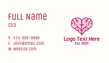 Pink Brain Heart  Business Card