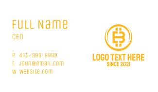 Golden Bitcoin Letter B Business Card
