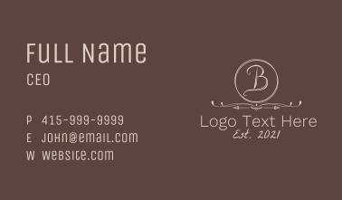 Minimalist Vintage Letter B Business Card