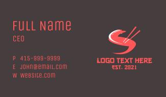 Letter S Chopsticks Business Card