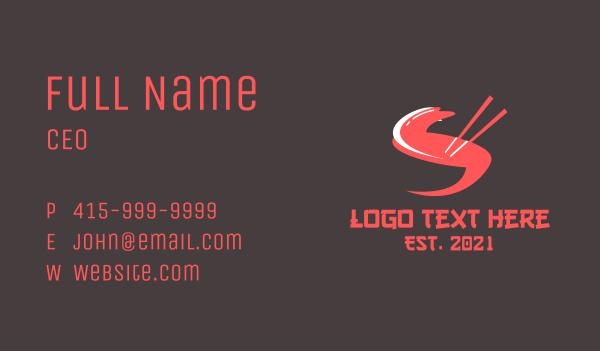 bowl - Letter S Chopsticks Business card horizontal design