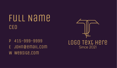 Luxury Letter T Business Card