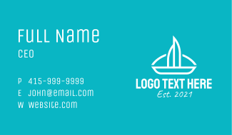 White Sail Boat  Business Card