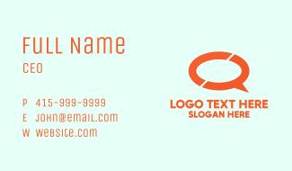 Orange Chat Bubble Business Card