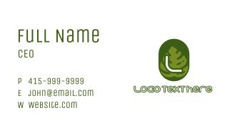Green Eco Leaf Lettermark Business Card