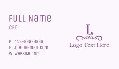 Purple Boutique Accessories Letter  Business Card
