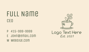 Organic Coffee Cup Cafe Business Card