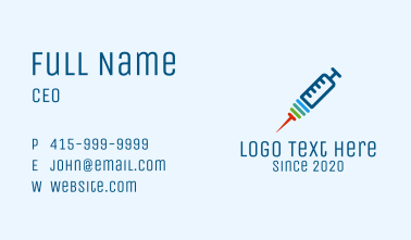 Multicolor Hypodermic Needle Business Card