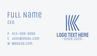 Blue Engineering Letter K Business Card
