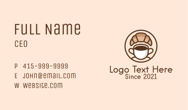 Croissant Coffee Cup Business Card