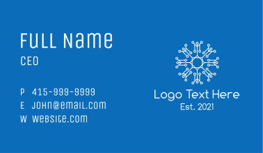 White Outline Snowflake  Business Card