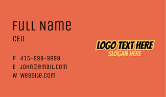 Spicy Asian Food Wordmark Business Card