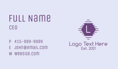 Hexagon Purple Letter Business Card