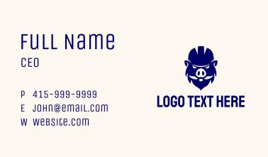 Hardhat Boar Mascot  Business Card