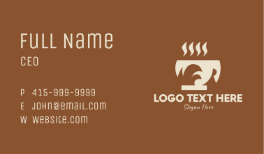 Brown Hot Coffee Drink Business Card