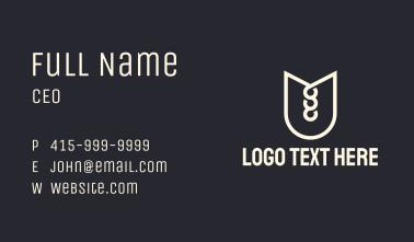 White Letter U Shield Business Card